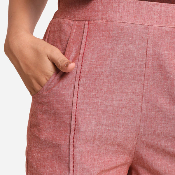Front Detail of a Model wearing Pink Mangalgiri Casual Cotton Shorts