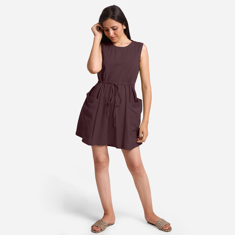 Front View of a Model wearing Brown Patch Pocket Round Neck Dress