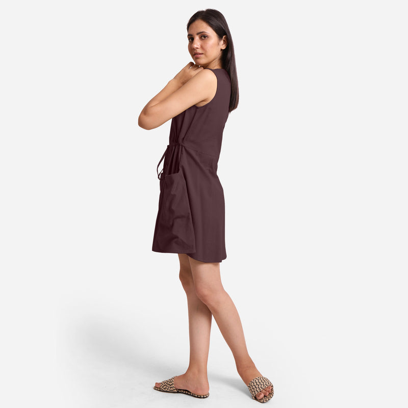 Left View of a Model wearing Brown Patch Pocket Round Neck Dress
