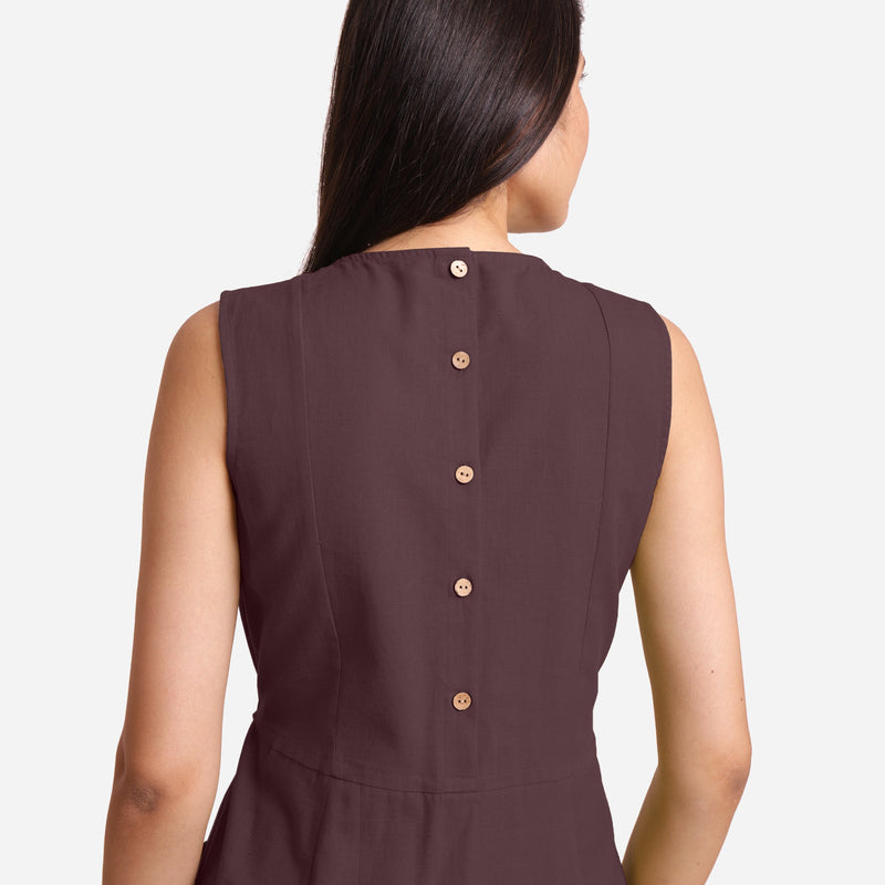 Back Detail of a Model wearing Brown Patch Pocket Round Neck Dress