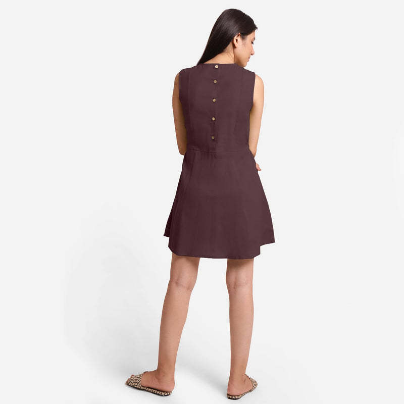 Back View of a Model wearing Brown Patch Pocket Round Neck Dress