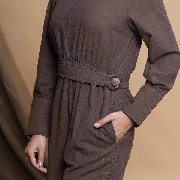 Front Detail of a Model wearing Brown Square Neck Gathered Romper