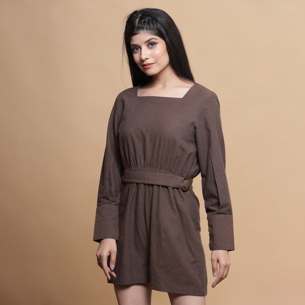 Front View of a Model wearing Brown Square Neck Gathered Romper