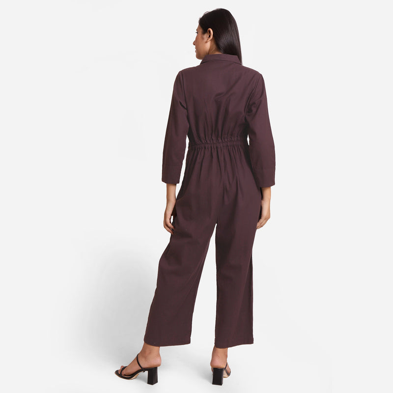 Brown Wide Legged Cotton Overall