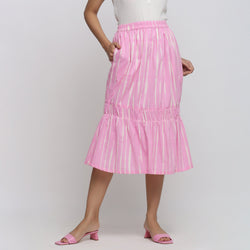 Front View of a Model wearing Bubblegum Pink Tie And Dye Balloon Skirt