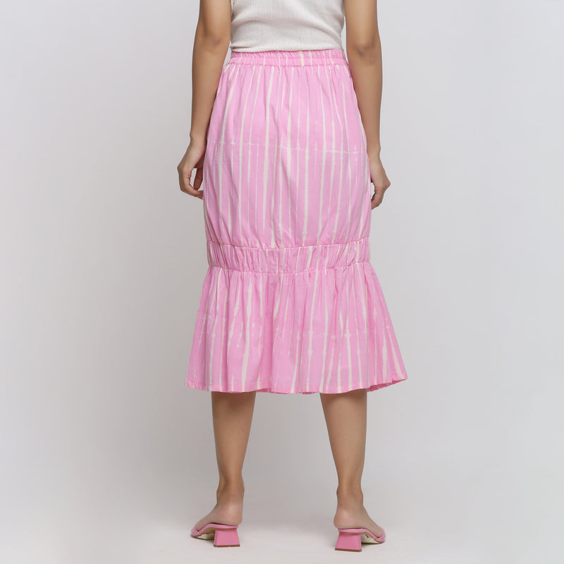 A Model wearing Bubblegum Pink Tie And Dye Balloon Skirt