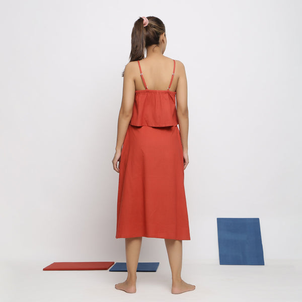 Back View of a Model wearing Vegetable Dyed Brick Red Button-Down Skirt