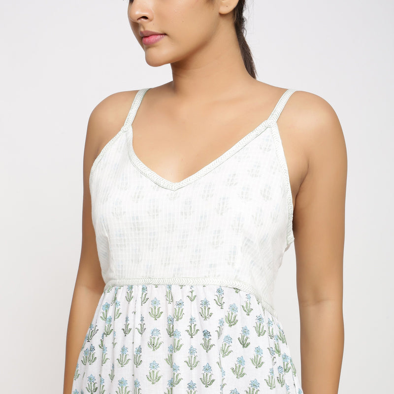 Front Detail of a Model wearing Sanganeri Hand Block Print Camisole Dress