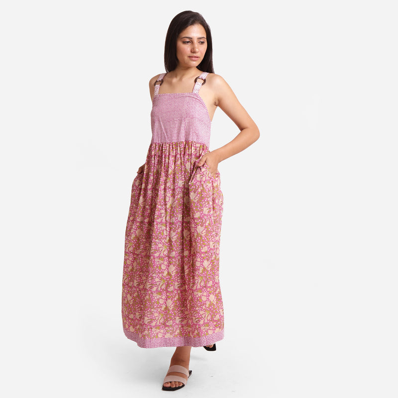 Left View of a Model wearing Floral Block Print Cotton Maxi Dress