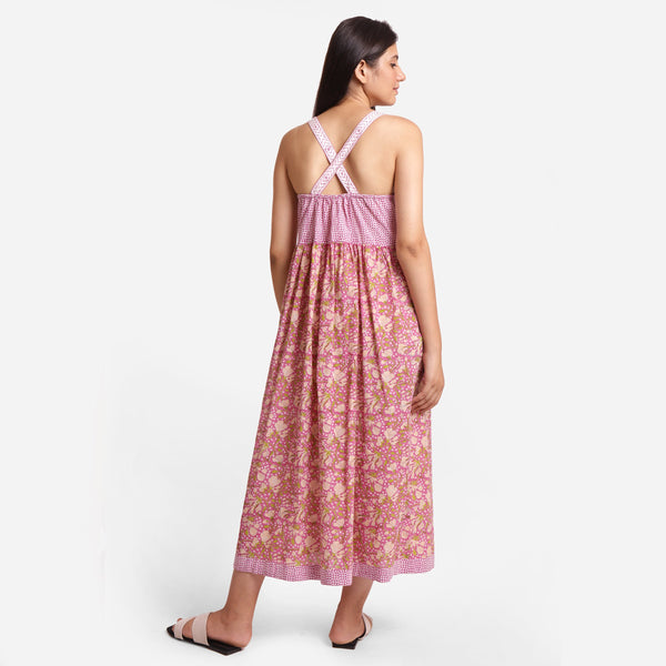 Back View of a Model wearing Floral Block Print Cotton Maxi Dress