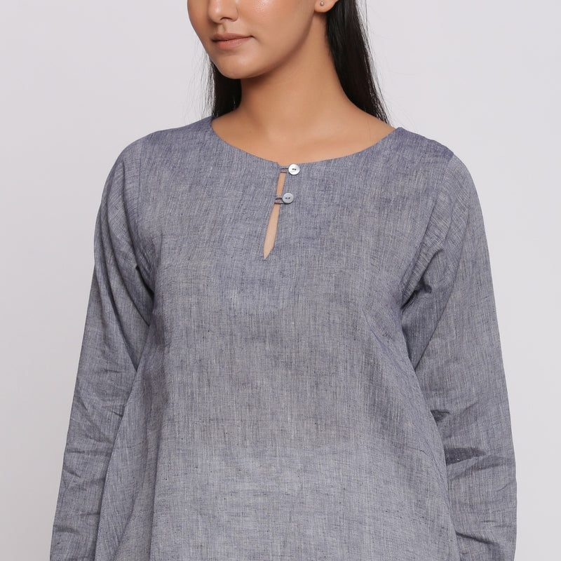 Front Detail of a Model wearing Charcoal Grey Cotton Flared Tunic Top