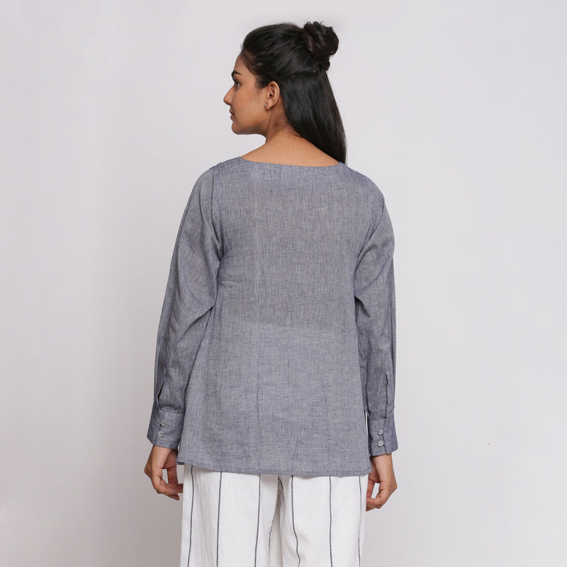 Back View of a Model wearing Charcoal Grey Cotton Flared Tunic Top