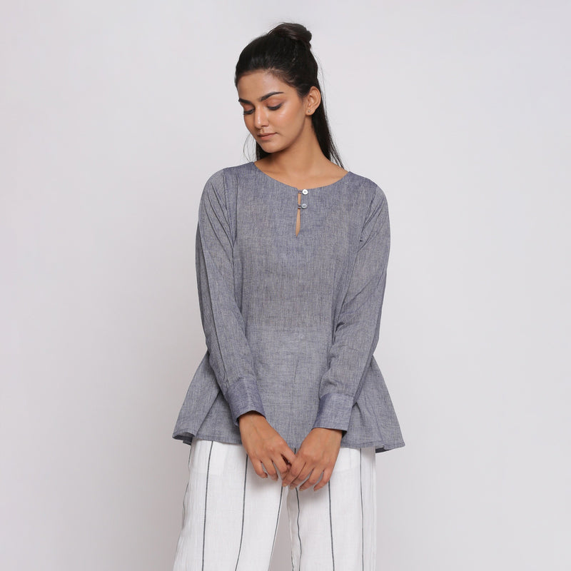 Front View of a Model wearing Charcoal Grey Cotton Flared Tunic Top