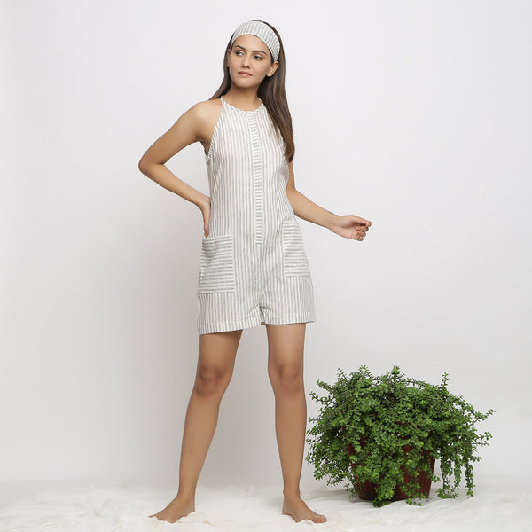 Front View of a Model wearing Charcoal Grey Handspun Button-Down Jumpsuit