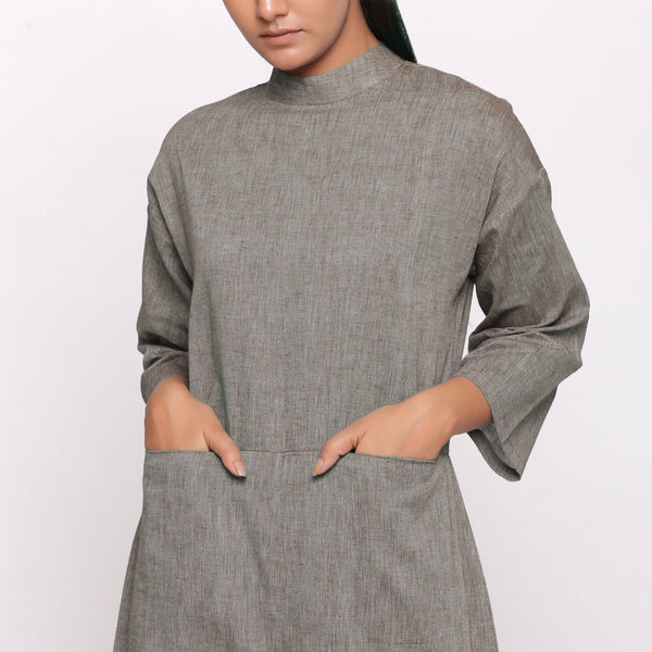 Front Detail of a Model wearing Charcoal Grey Handspun Straight Ankle Length Jumpsuit