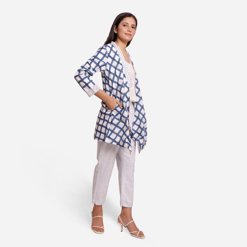 Right View of a Model wearing Check Print Loose Fit Cotton Shrug