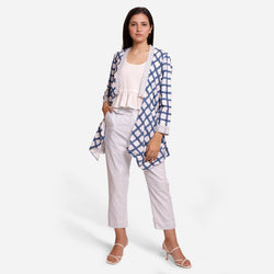 Front View of a Model wearing Check Print Loose Fit Cotton Shrug