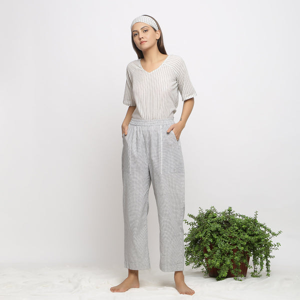 Front View of a Model wearing Checkered Handspun Pull-On Straight Fit Pant