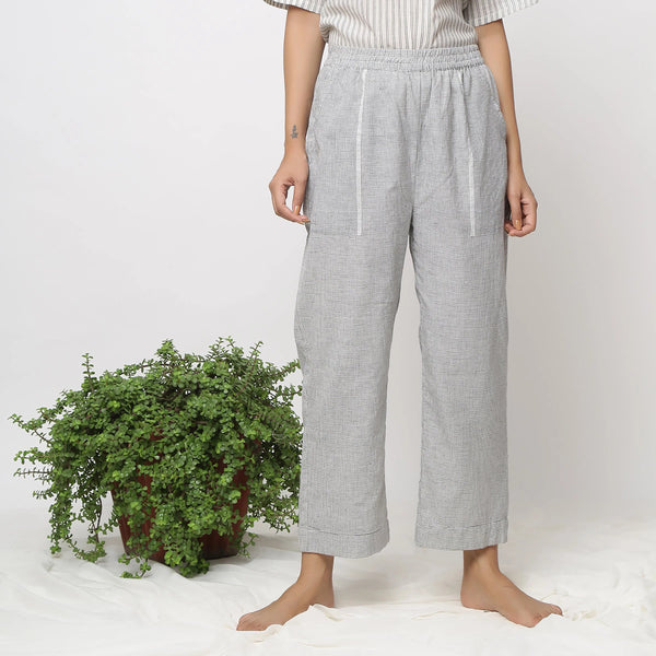 Front View of a Model wearing Checked Handspun Pull-on Straight Pant