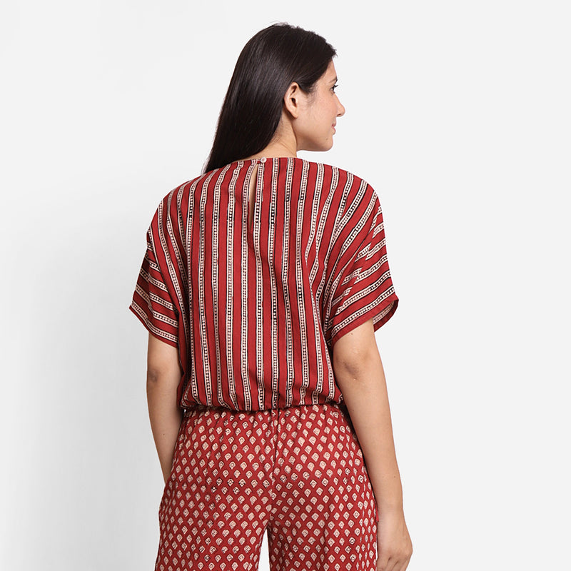 Back View of a Model wearing Block Printed Drop Shoulder Cotton Crop Top