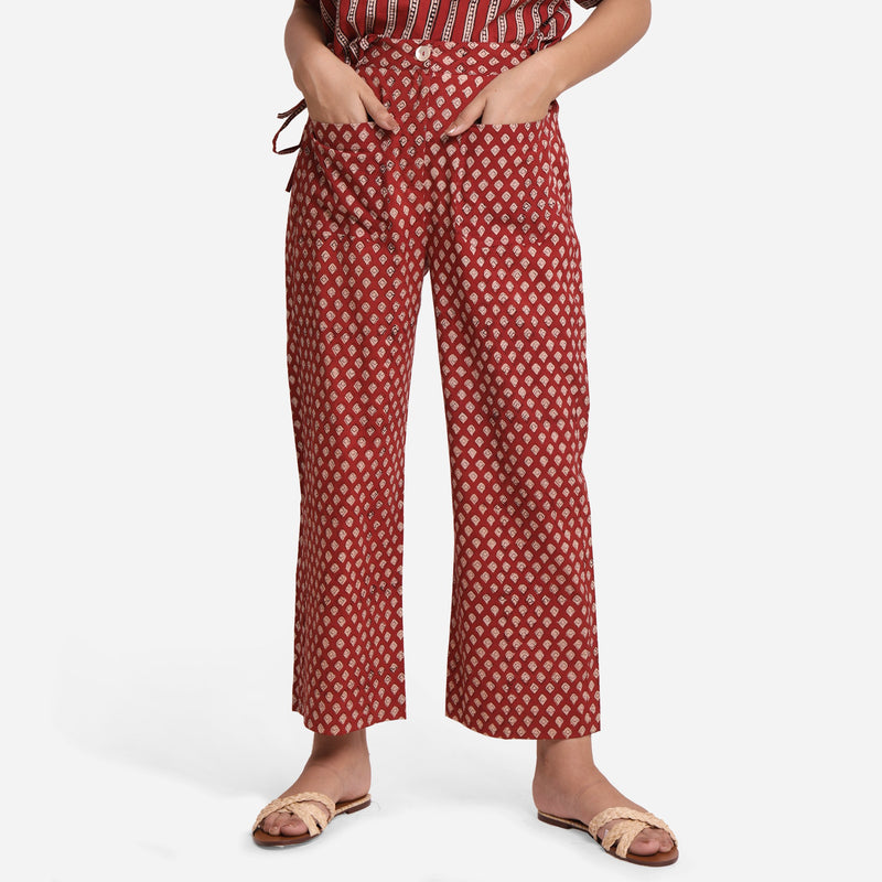 Front View of a Model wearing  Block Printed Straight High Rise Pant