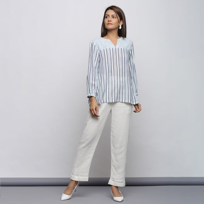 Chic Off-White Yoked Top and Tapered Pant Set