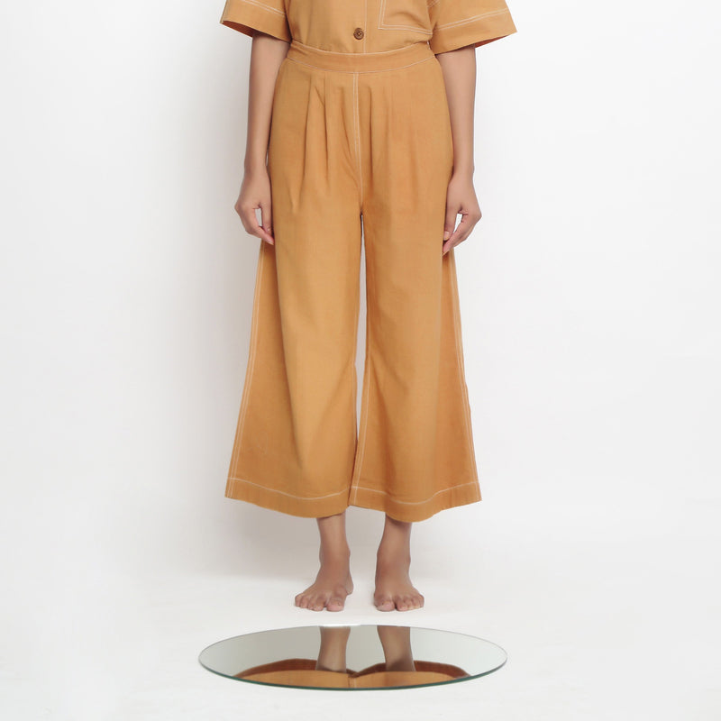 Front View of a Model Wearing Vegetable Dyed Rustic Wide Legged Pant