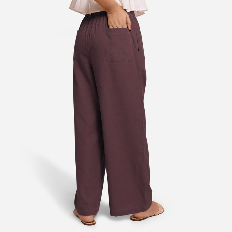 Back View of a Model wearing Brown Cotton Flax Wide Legged Straight Pant
