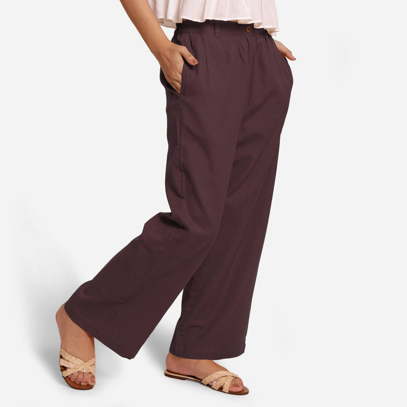 Right View of a Model wearing Brown Cotton Flax Wide Legged Straight Pant