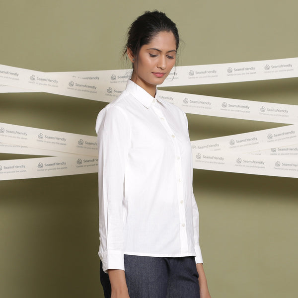 Right View of a Model wearing Classic White Cotton Button-Down Shirt