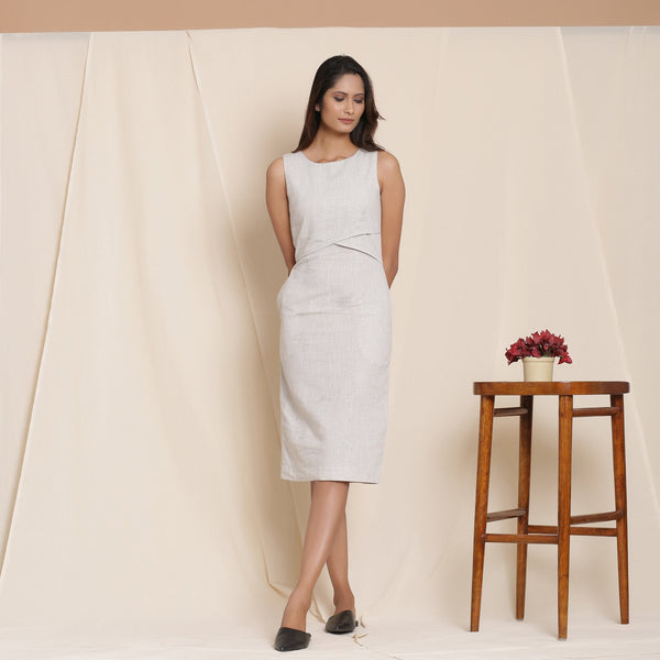 Front View of a Model wearing Cloudy Grey Knee Length Sheath Dress