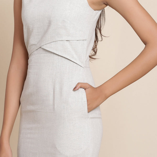 Front Detail of a Model wearing Cloudy Grey Knee Length Sheath Dress