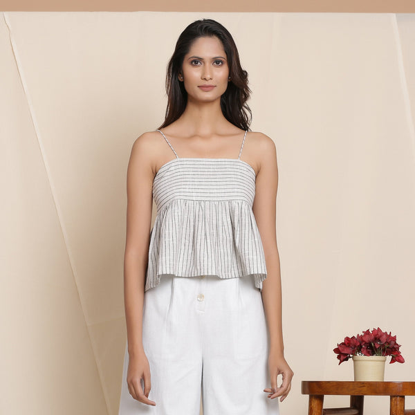 Front View of a Model wearing Cloudy Grey Striped Cami Top
