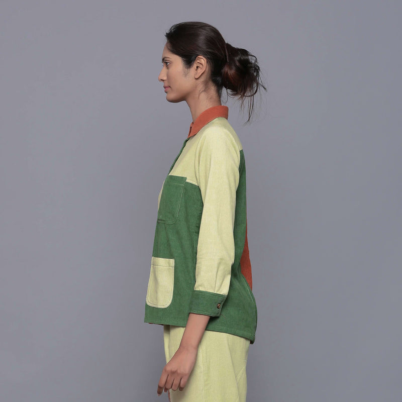 Left View of a Model wearing Color-Blocked Cotton Corduroy Shirt