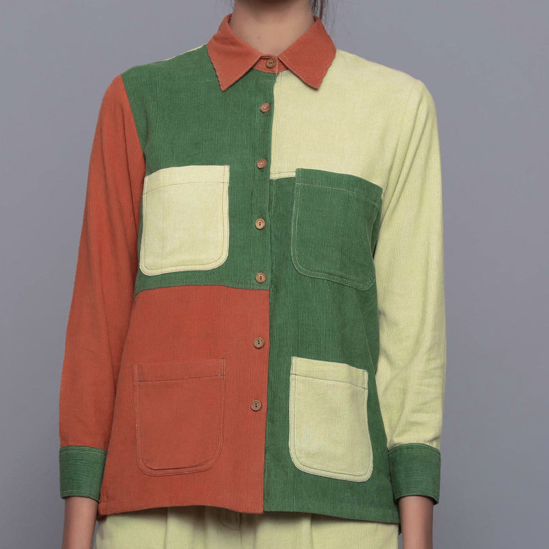Front Detail of a Model wearing Color-Blocked Cotton Corduroy Shirt