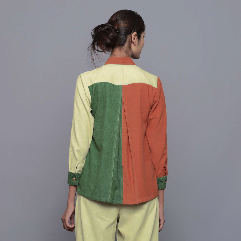 Back View of a Model wearing Color-Blocked Cotton Corduroy Shirt