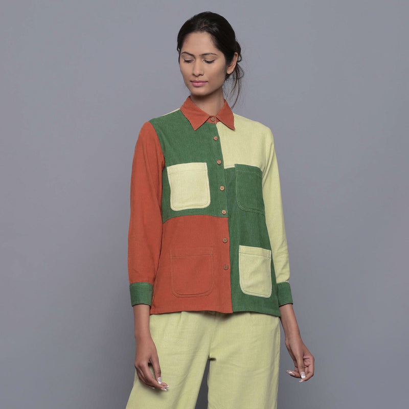 Front View of a Model wearing Color-Blocked Cotton Corduroy Shirt