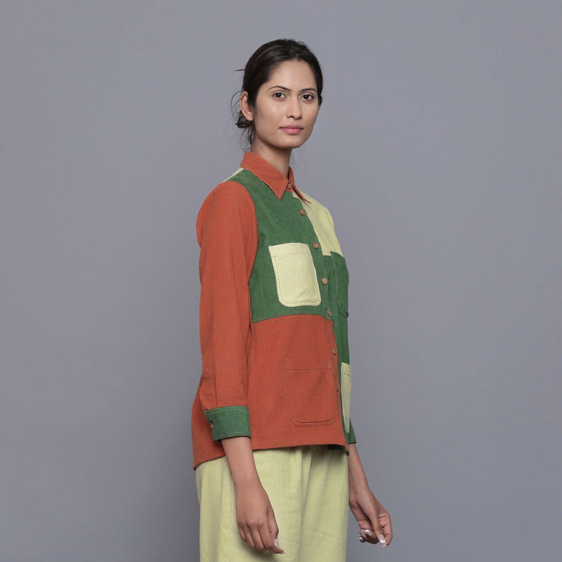 Right View of a Model wearing Color-Blocked Cotton Corduroy Shirt