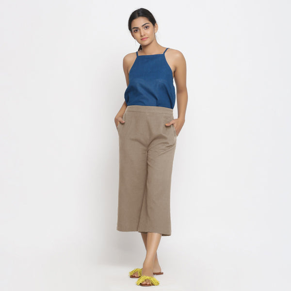 Front View of a Model wearing Comfort Fit Beige Cotton Flax Culottes
