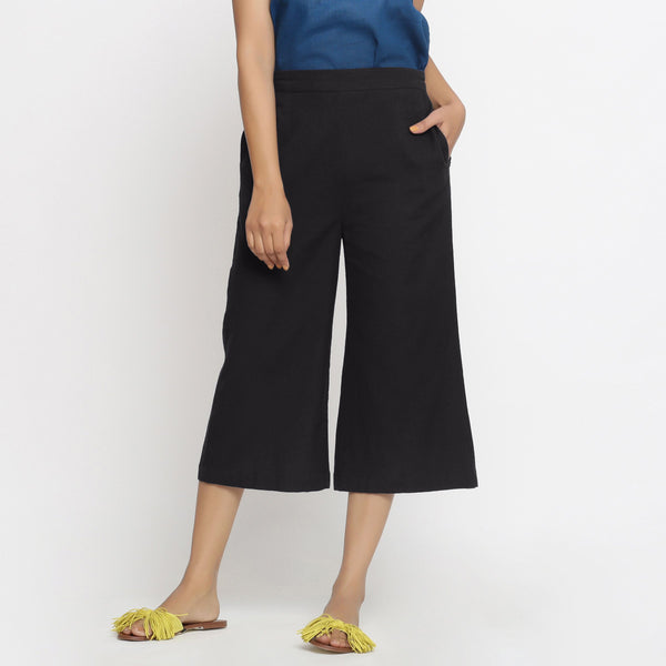 Front View of a Model wearing Comfort Fit Black Cotton Flax Culottes