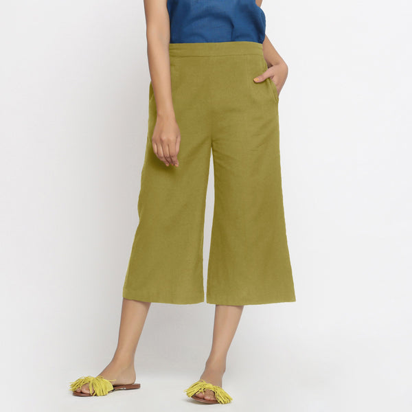 Front View of a Model wearing Comfort Fit Olive Green Cotton Flax Culottes