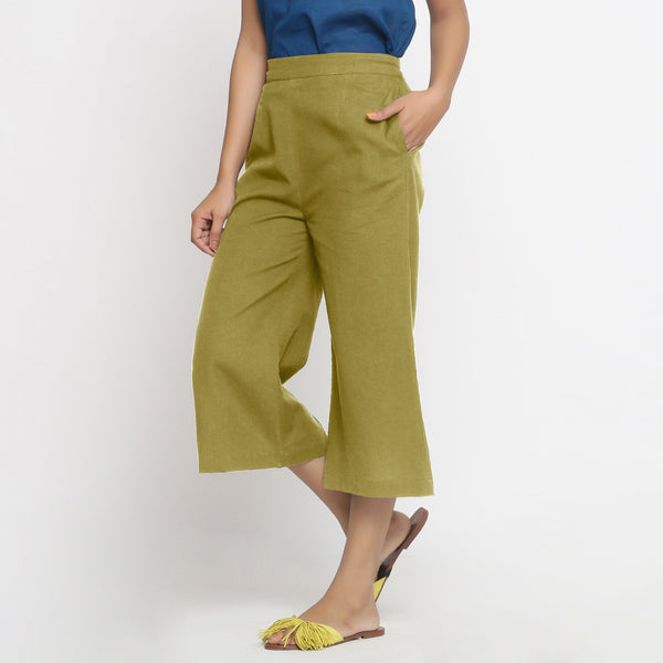 Left View of a Model wearing Comfort Fit Olive Green Cotton Flax Culottes
