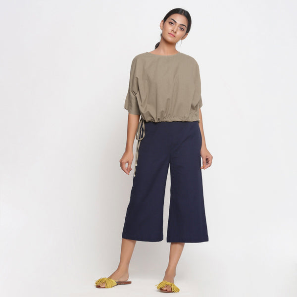 Comfy Beige Baloon Top and Blue Culottes Set