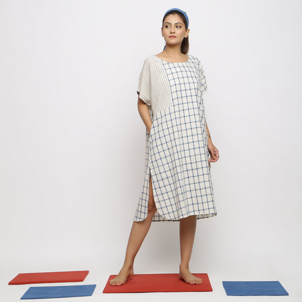 Front View of a Model wearing Comfy Blue Checks A-Line Dress