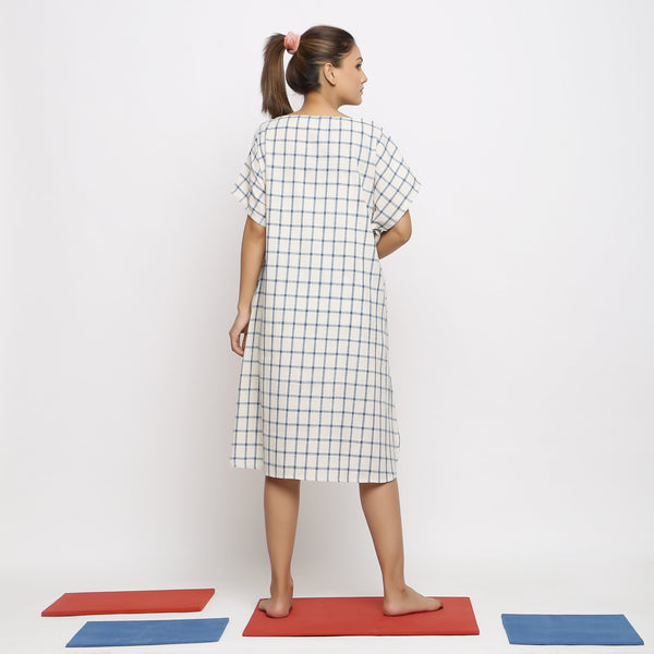 Back View of a Model wearing Comfy Blue Checks A-Line Dress