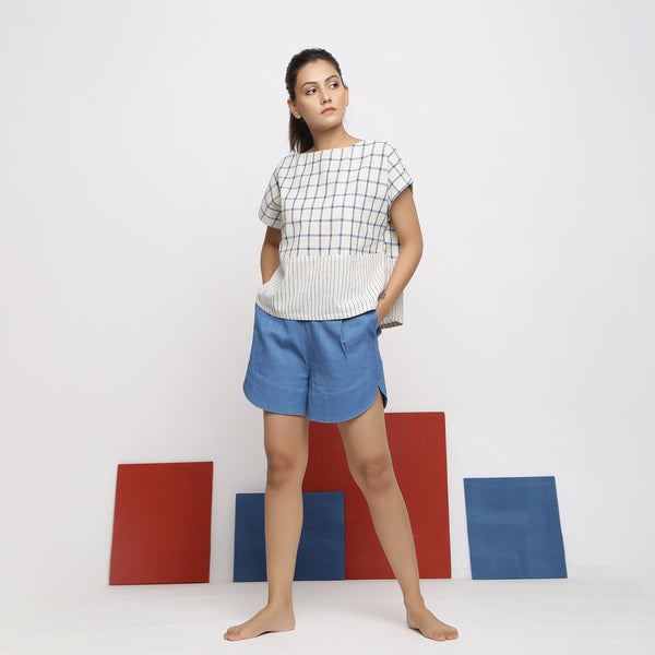 Front View of a Model wearing Blue Vegetable Dyed Top and Shorts Set