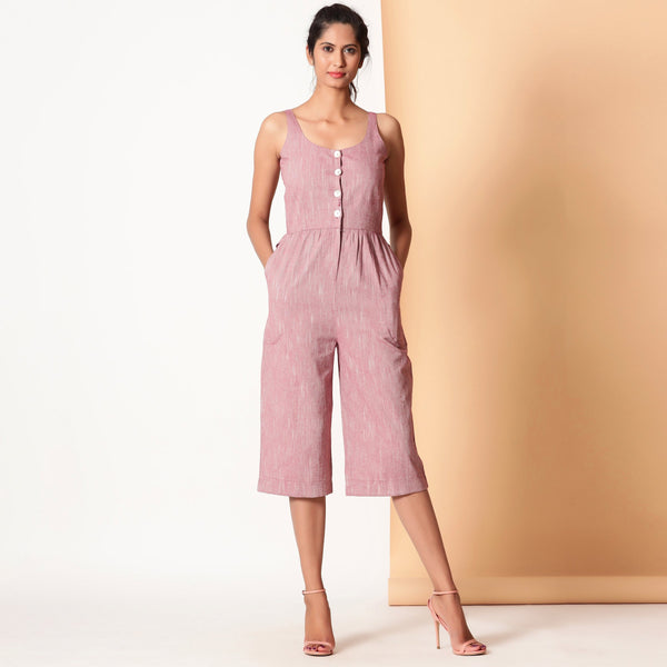 Front View of a Model wearing Comfy Cotton Sleeveless Button-Down Jumpsuit