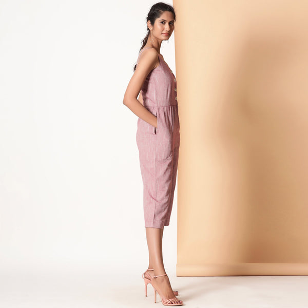 Right View of a Model wearing Comfy Cotton Sleeveless Button-Down Jumpsuit