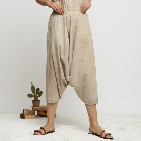 Front View of a Model wearing Comfy Dabu Beige Zouave Pant