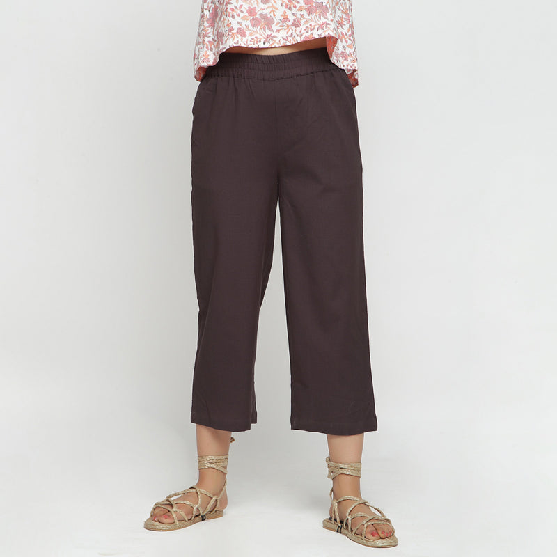 Front View of a Model wearing Solid Brown Cotton Flax Culottes